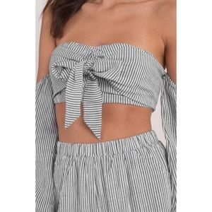 Tops - Gray Striped Off Shoulder Tie Top